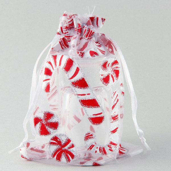 Organza zakje wit candy cane