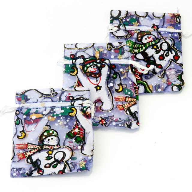 Sneeuwpop organza zakjes