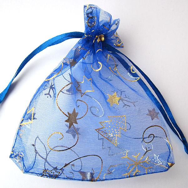 Organza zakjes kerstboom maan sterren blauw