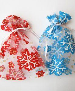 Kerst sneeuwvlok mix rood-blauw groot