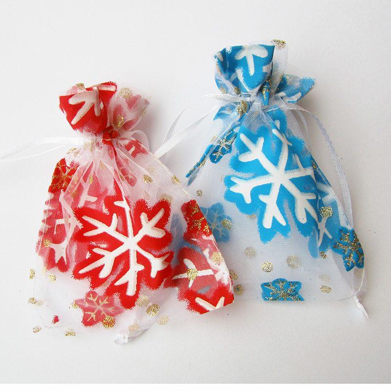 Kerst Sneeuwvlok mix rood-blauw klein