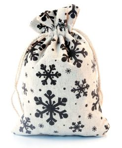 Katoenen zakjes met sneeuwvlokken