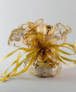 Organza kerst buideltje goud