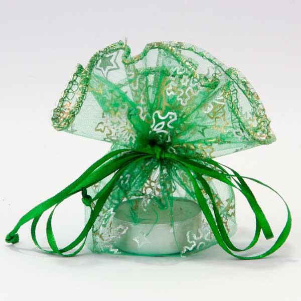 Organza kerst buideltje groen