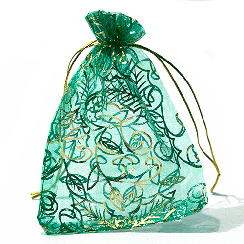 Organza zakje groen met kersthulst opdruk