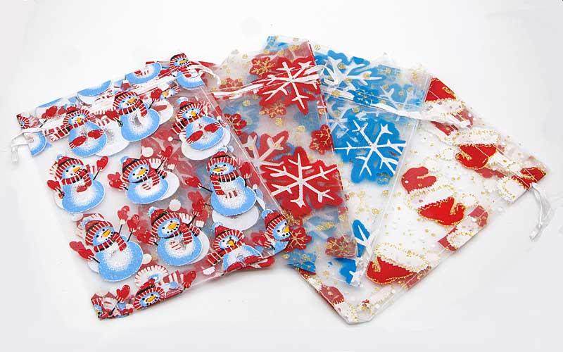 Kerst Organza zakjes mix met een kerstprint