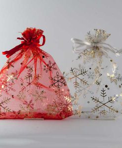 Organza zakjes Kerst sneeuwvlok mix rood-wit maat 6