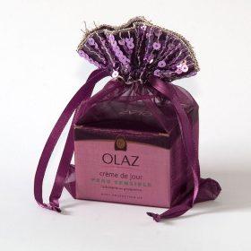 organza zakjes met pailletjes aubergine maat 6