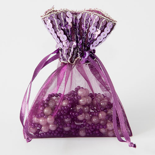 Organza zakje met pailletjes aubergine maat 3