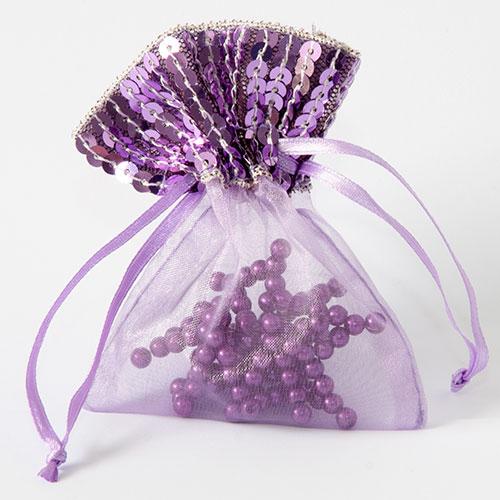 Organza zakje met pailletjes lila maat 3