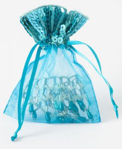 Organza zakje met pailletjes turquoise maat 3