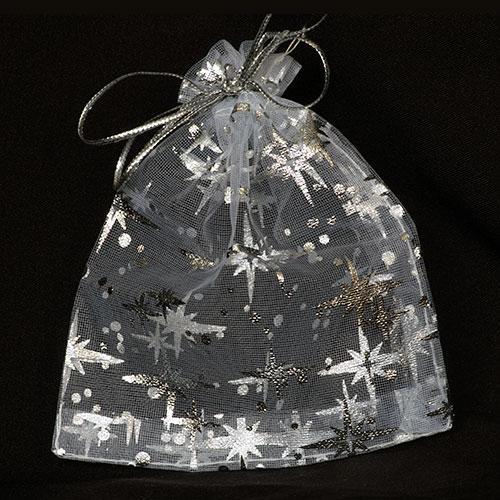 Organza zakjes Kerst Sterren zilver maat 4