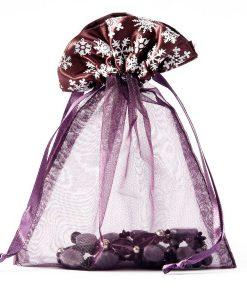 Organza zakje winterprint aubergine maat 6
