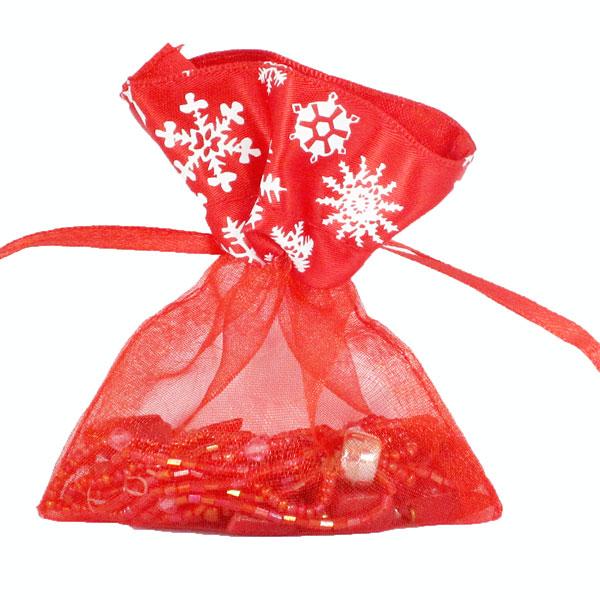 Organza zakje winterprint rood maat 3