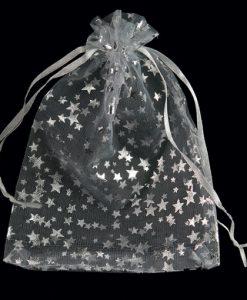 Organza zakjes met zilveren sterren maat 6
