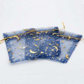 Kerst organza zakjes donkerblauw bedrukt met gouden ster en maan