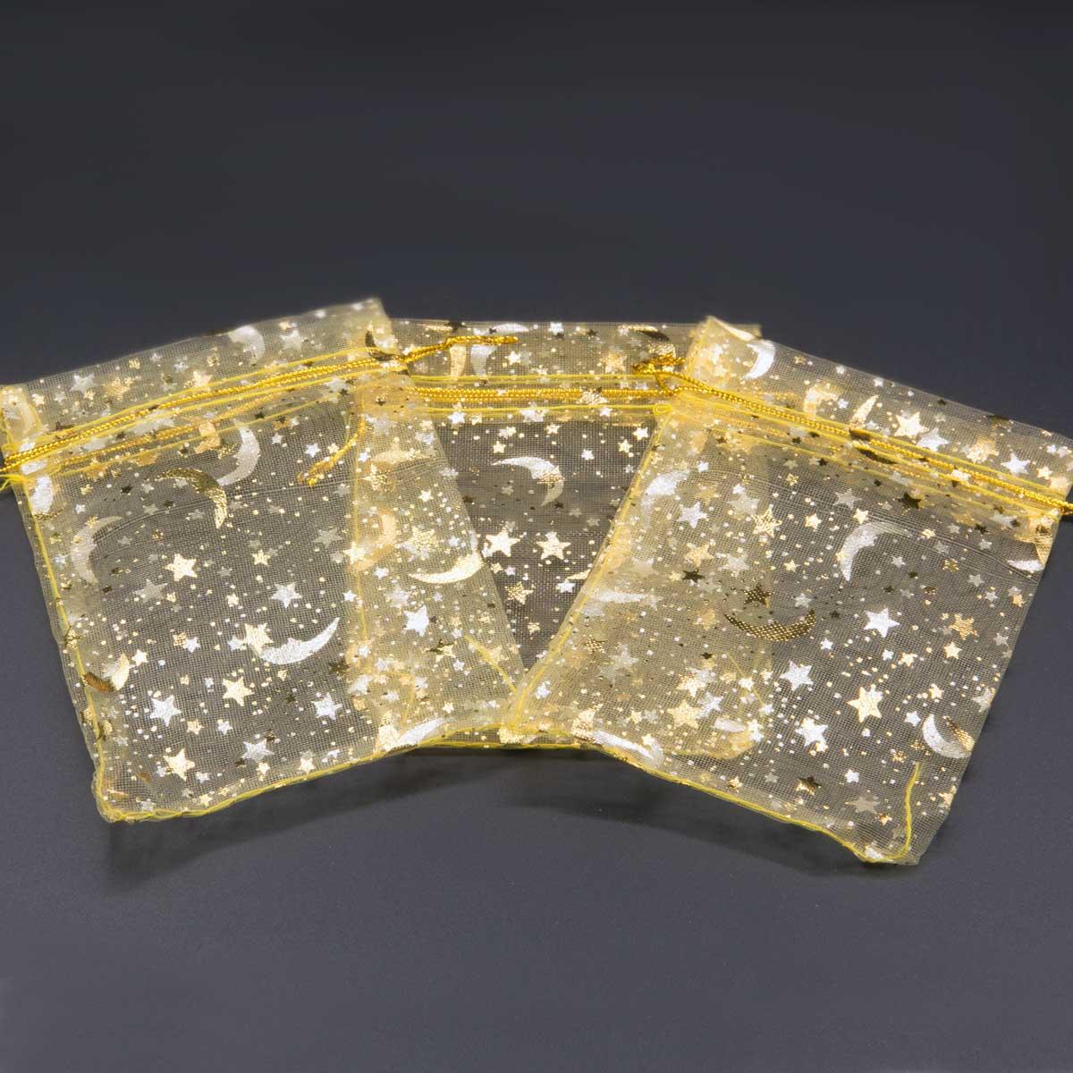 Organza zakjes kerst met ster-maan goud maat 4