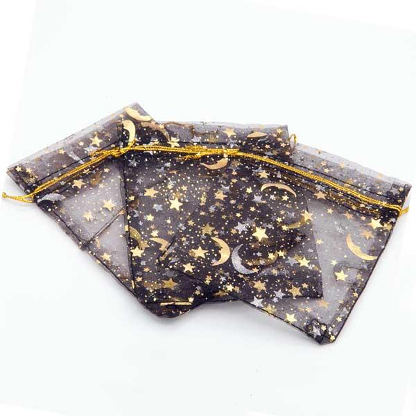 Kerst organza zakjes zwart bedrukt met gouden ster en maan