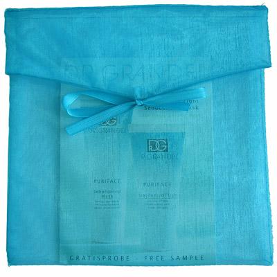 Organza envelop vierkant turquoise
