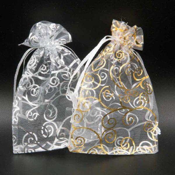 Organza zakjes kerst mix swirl goud en zilver