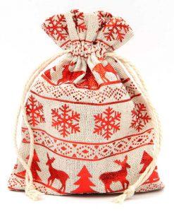 Katoenen zakje met rode winterprint