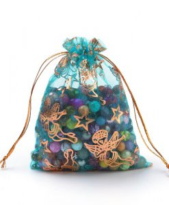 organzazakjes turquoise met gouden engeltjes en sterren kl