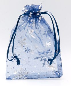 Donkerblauwe organza zakjes met zilveren sneeuwsterren of sneeuwsterren