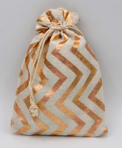 Katoenen zakjes met rose gouden zigzag print